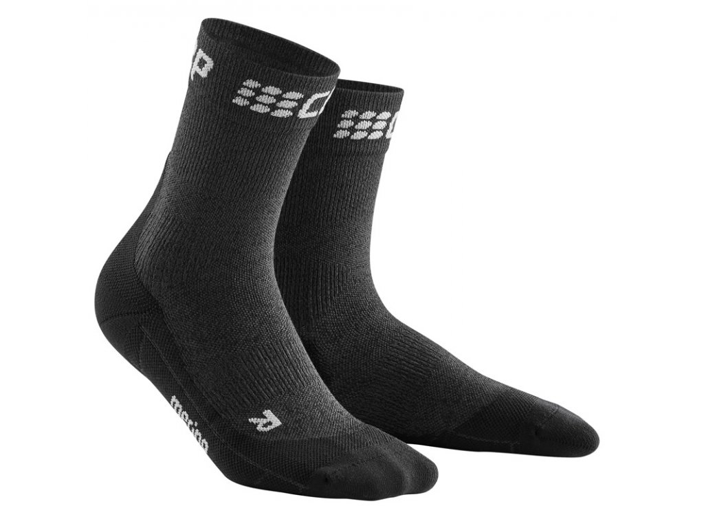 Krátké zimní běžecké ponožky pánské III šedá / černá