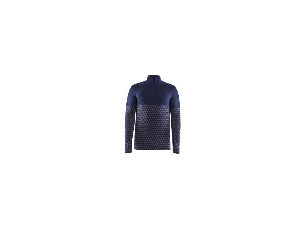 Triko CRAFT Merino 240 Zip LS tmavě modrá S