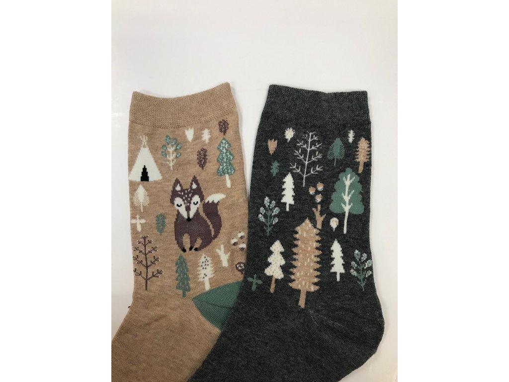 Dizajnové ponožky Líška a les