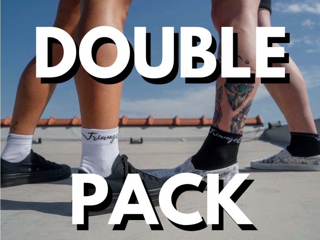 PONOŽKY kotníkové Double Black&White Ankle Socks