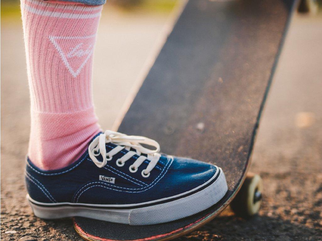 ponožky se stříbrem růžové
