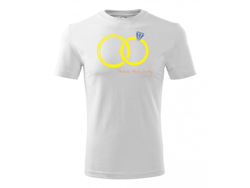 Tričko pro ženicha - Datum svatby - Bílé