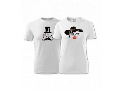 Tričko pro páry s potiskem - Mr. a Mrs.