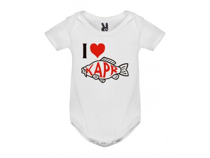 Dětské body s potiskem - I LOVE KAPR