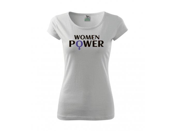 Dámské tričko s potiskem - Women Power - Bílé