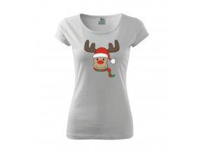 Dámské vánoční tričko se sobem - Levná trička s potiskem
