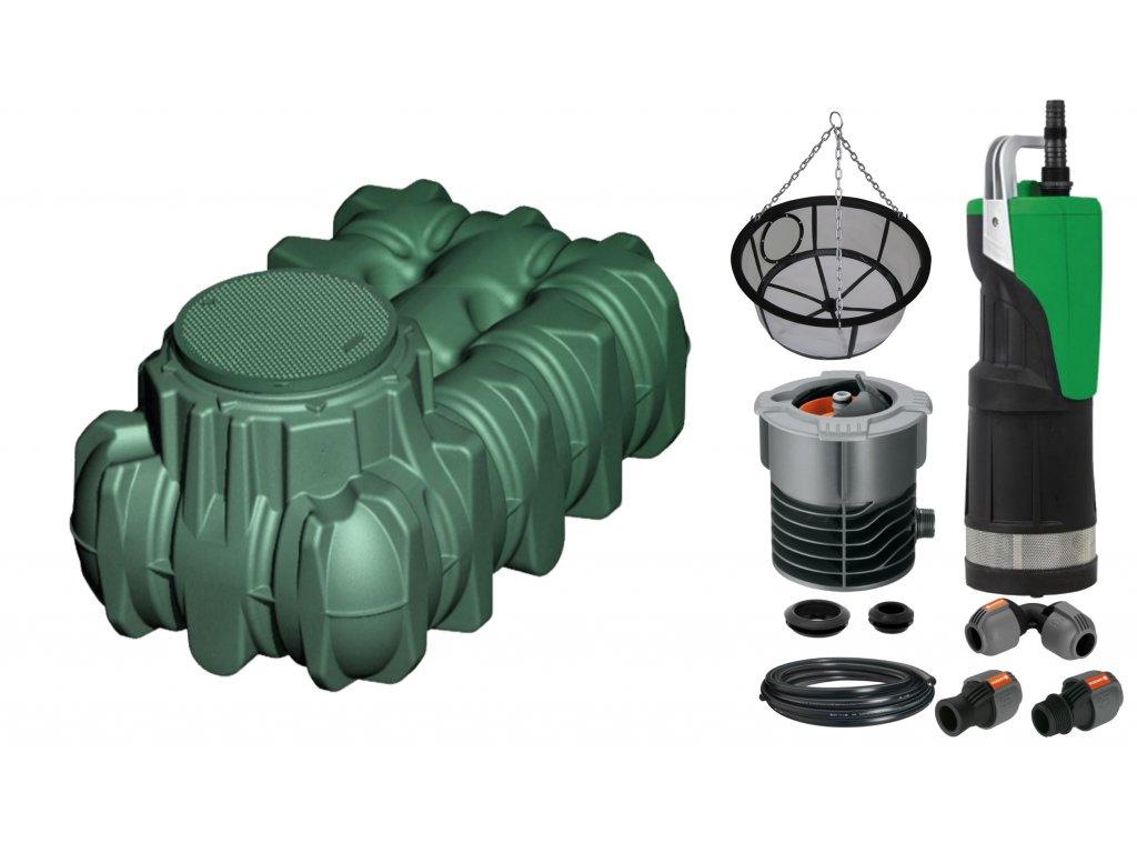 Sada plastové retenční akumulační nádrže na dešťovou vodu Li Lo 1 500 L