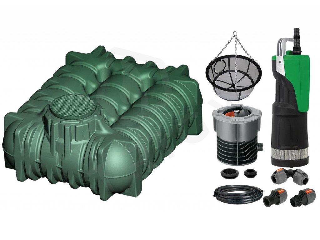 Sada plastové retenční akumulační nádrže na dešťovou vodu Li Lo 5 000 L