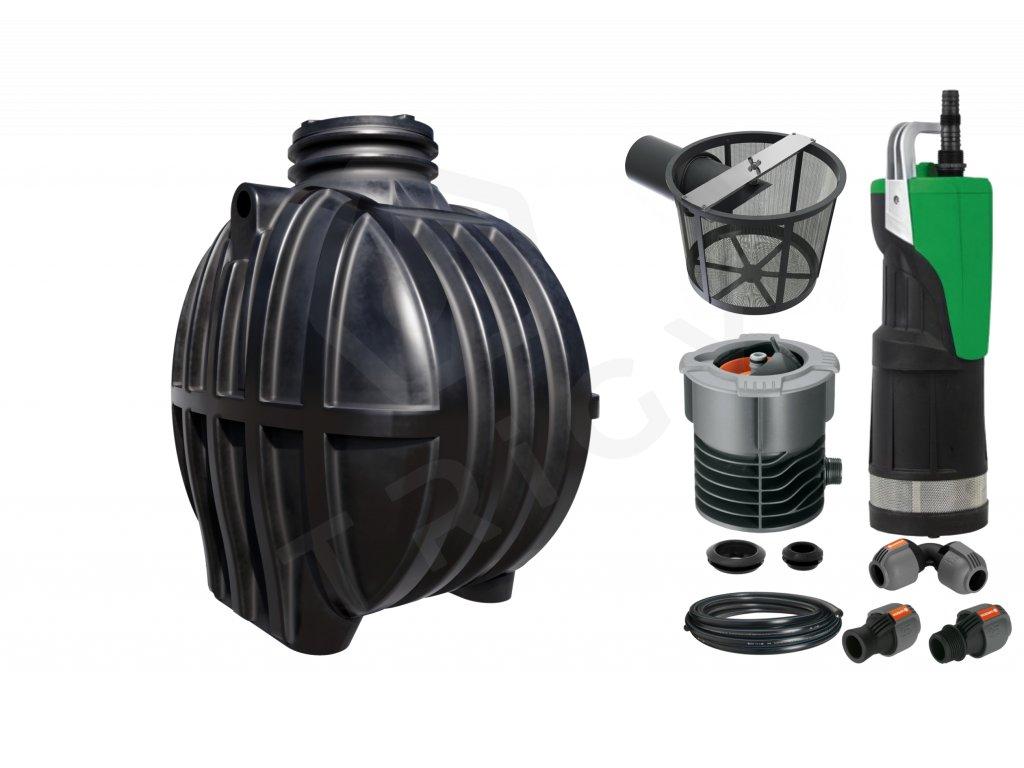 Sada plastové retenční akumulační nádrže na dešťovou vodu Smart 3600 L