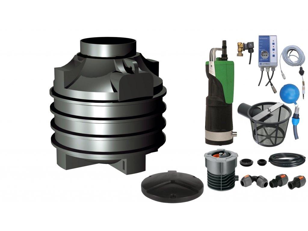 Sada plastové retenční akumulační nádrže na dešťovou vodu Clearo 1000 L s filtračním košem a dopouštěním Afriso