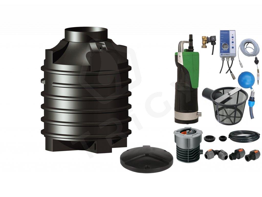 Sada plastové retenční akumulační nádrže na dešťovou vodu Clearo 1500 L s filtračním košem a dopouštěním Afriso