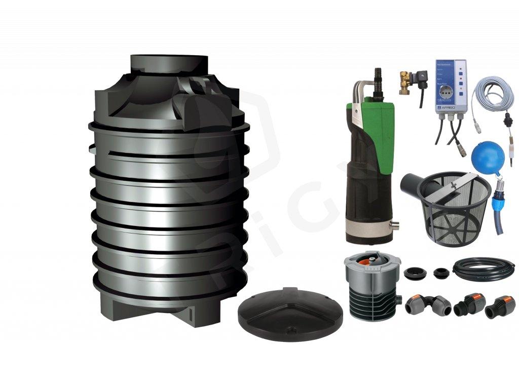 Sada plastové retenční akumulační nádrže na dešťovou vodu Clearo 2000 L s filtračním košem a dopouštěním Afriso