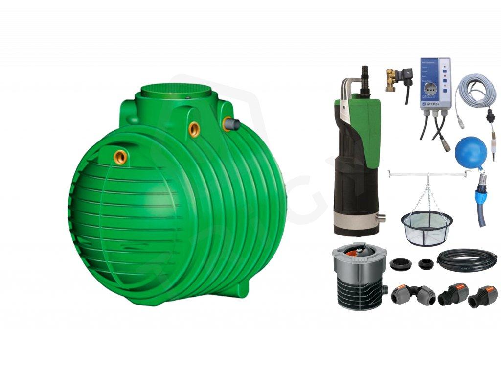 Sada plastové retenční akumulační nádrže na dešťovou vodu Columbus 6 500 L s filtračním košem a dopouštěním Afriso