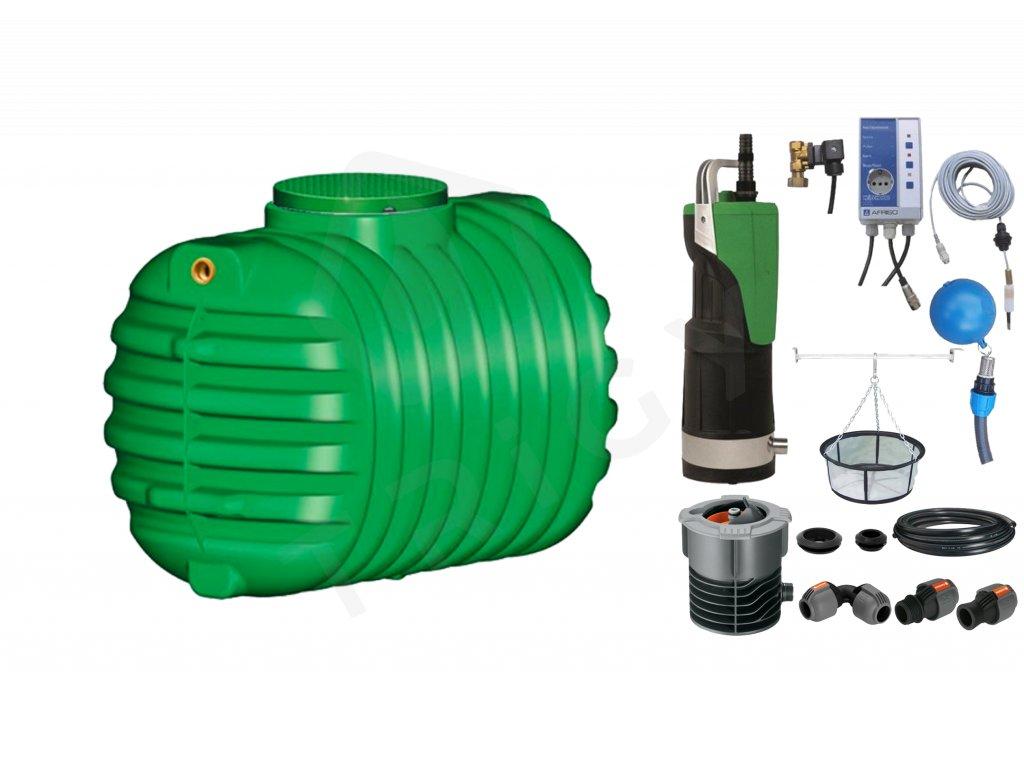 Sada plastové retenční akumulační nádrže na dešťovou vodu Cristall 1 600 L s filtračním košem a dopouštěním Afriso