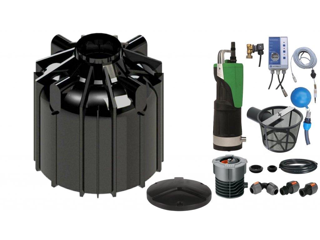 Sada plastové retenční akumulační nádrže na dešťovou vodu Globo line 8300 L s filtračním košem a dopouštěním Afriso