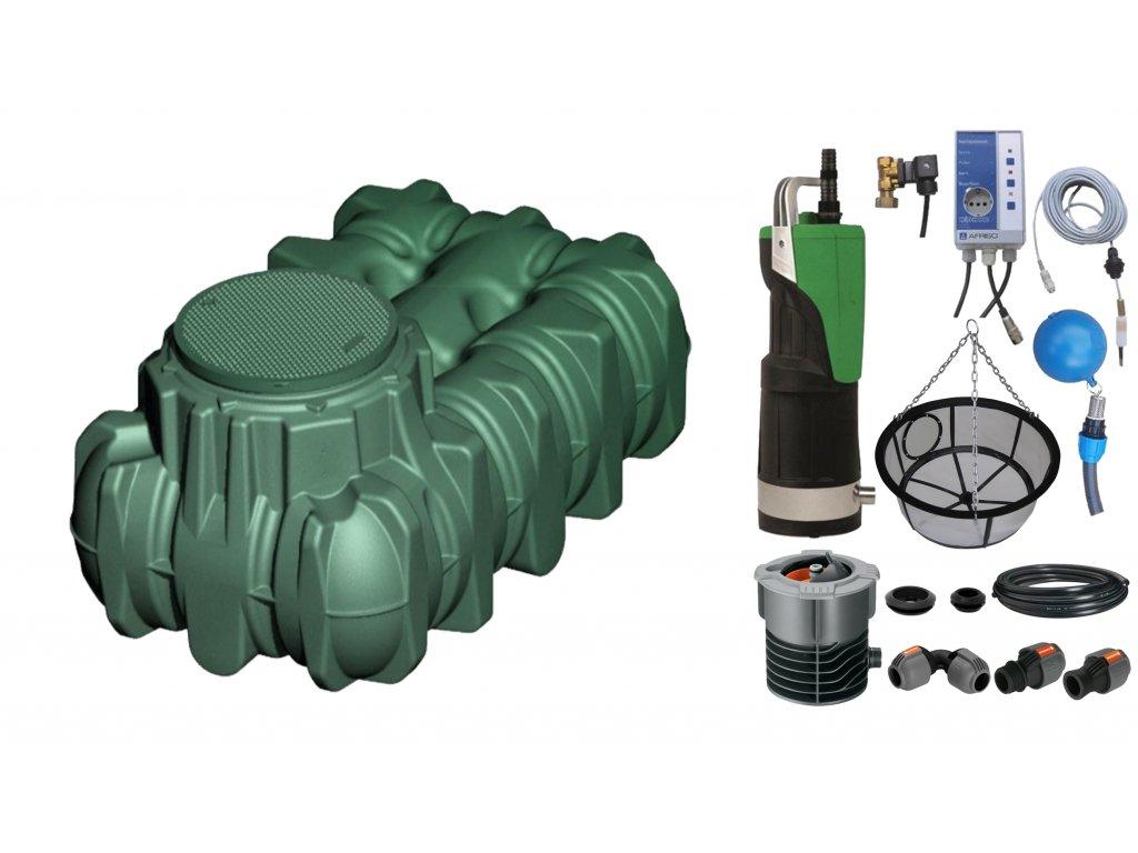 Sada plastové retenční akumulační nádrže na dešťovou vodu Li Lo 1 500 L s filtračním košem a dopouštěním Afriso