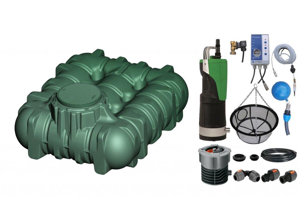 Sada plastové retenční akumulační nádrže na dešťovou vodu Li Lo 3 000 L s filtračním košem a dopouštěním Afriso