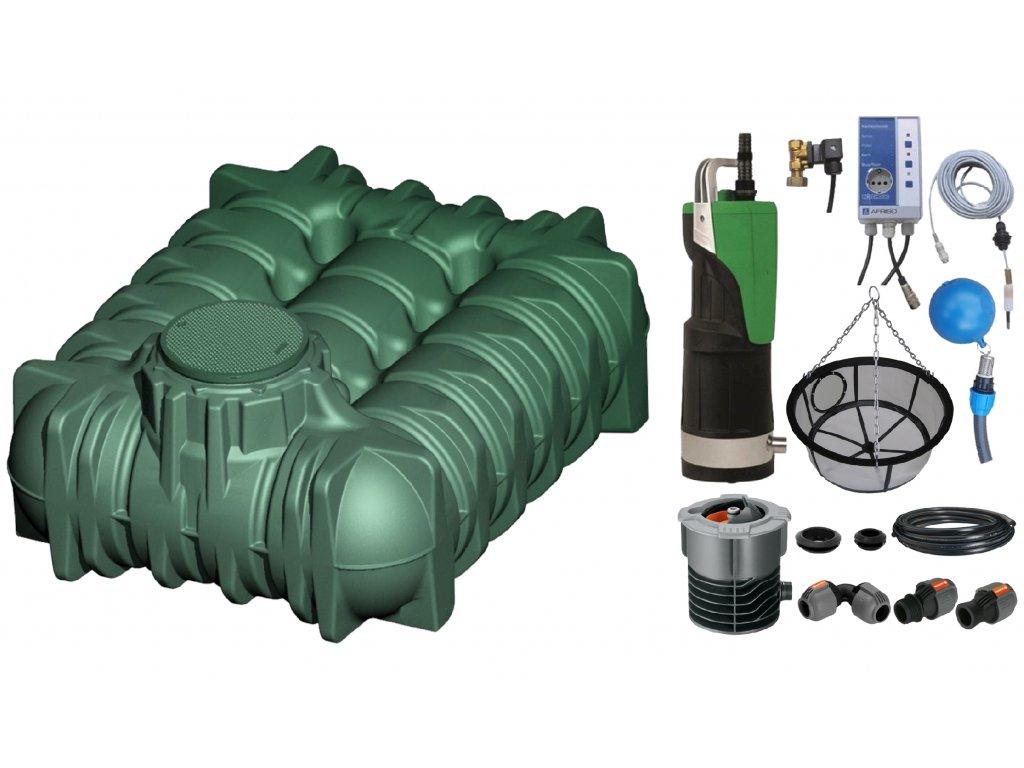 Sada plastové retenční akumulační nádrže na dešťovou vodu Li Lo 5 000 L s filtračním košem a dopouštěním Afriso