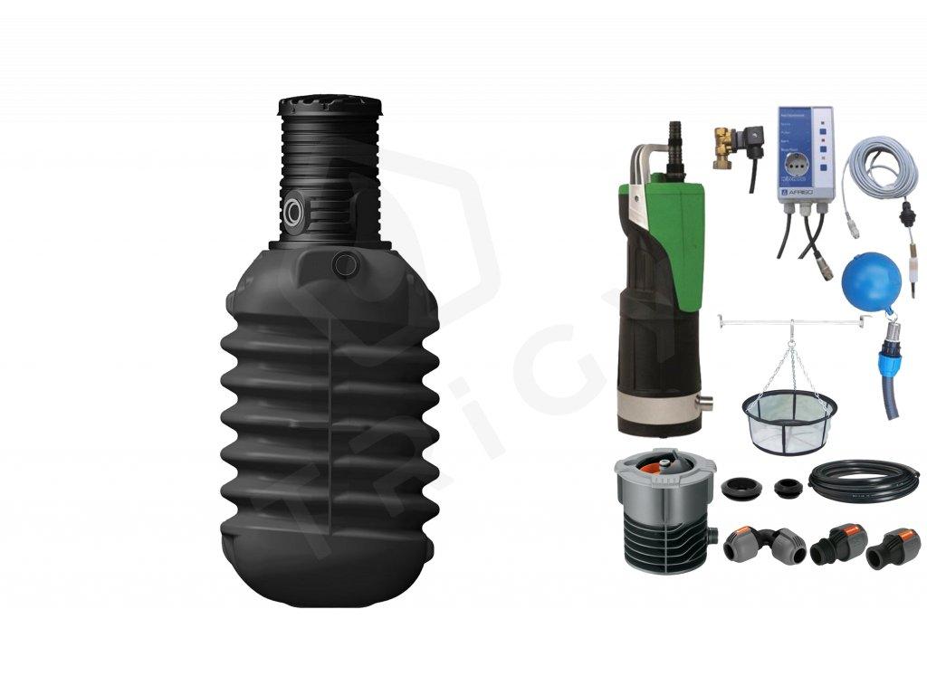 Sada plastové retenční akumulační nádrže na dešťovou vodu Modularis 2 500 L s filtračním košem a dopouštěním Afriso