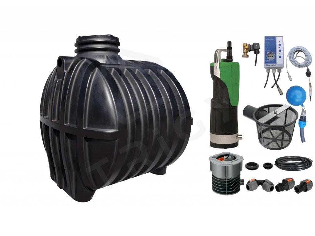 Sada plastové retenční akumulační nádrže na dešťovou vodu Smart 6000 L