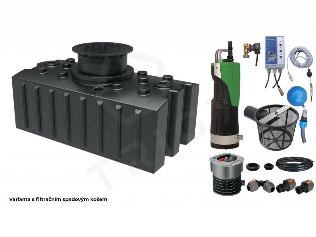 Sada plastové retenční akumulační nádrže na dešťovou vodu Aqua 2000 L s filtračním košem a dopouštěním Afriso