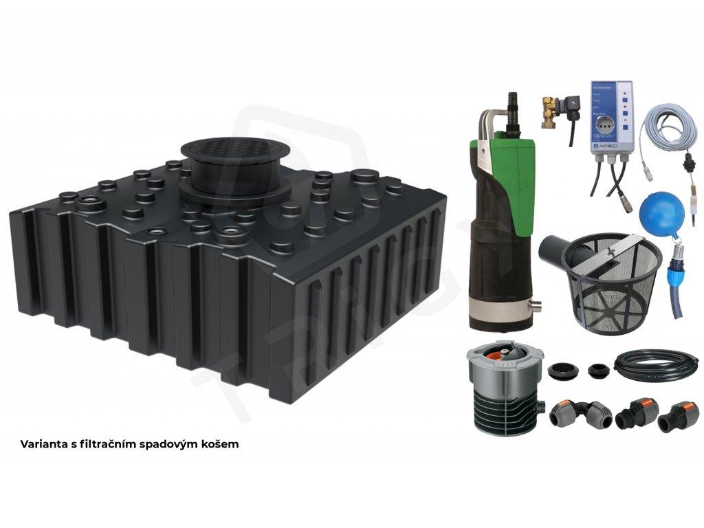Sada plastové retenční akumulační nádrže na dešťovou vodu Aqua 4000 L s filtračním košem