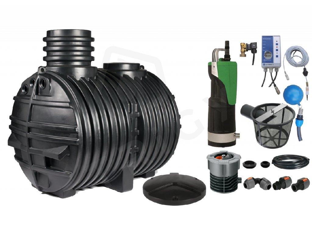 Sada plastové retenční akumulační nádrže na dešťovou vodu Eco line 5000 L s filtračním košem a dopouštěním Afriso
