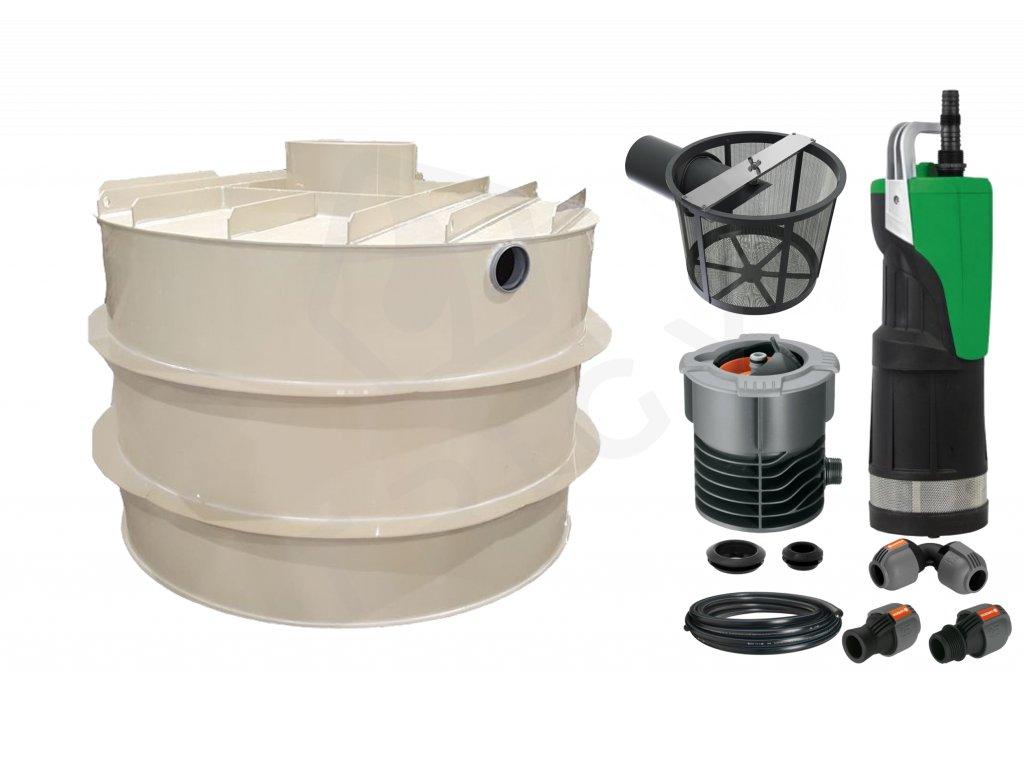Sada plastové retenční akumulační nádrže na dešťovou vodu RNSK 8000 L