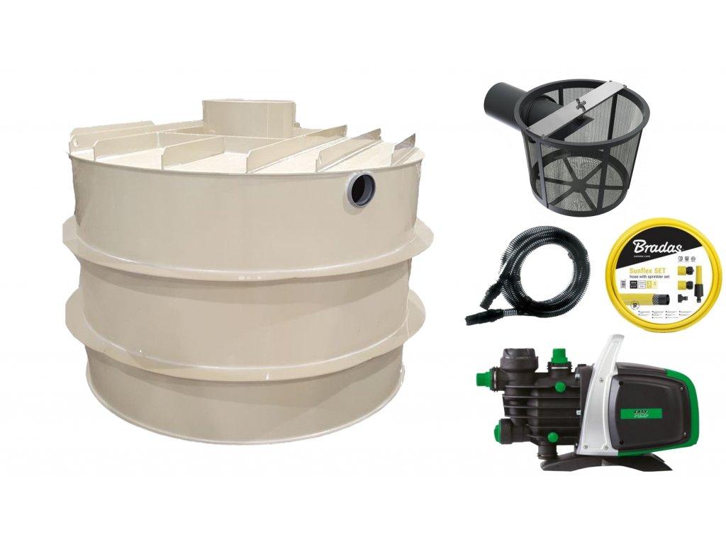 Sada plastové retenční akumulační nádrže na dešťovou vodu RNSK 2 000 L