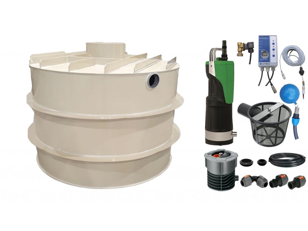 Sada plastové retenční akumulační nádrže na dešťovou vodu RNSK 15000 L