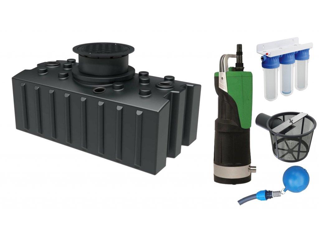 Sada plastové retenční akumulační nádrže na dešťovou vodu Aqua 2000 L