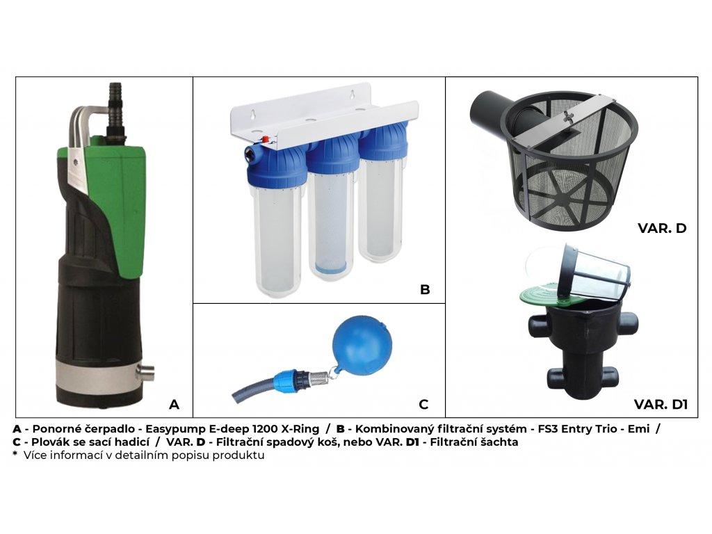Sada plastové retenční akumulační nádrže na dešťovou vodu Ecoline 3300 L