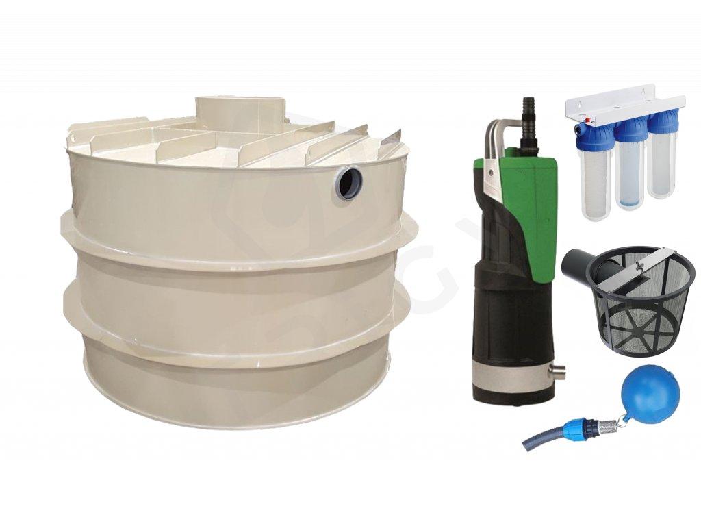Sada plastové retenční akumulační nádrže na dešťovou vodu RNSK 3000 L