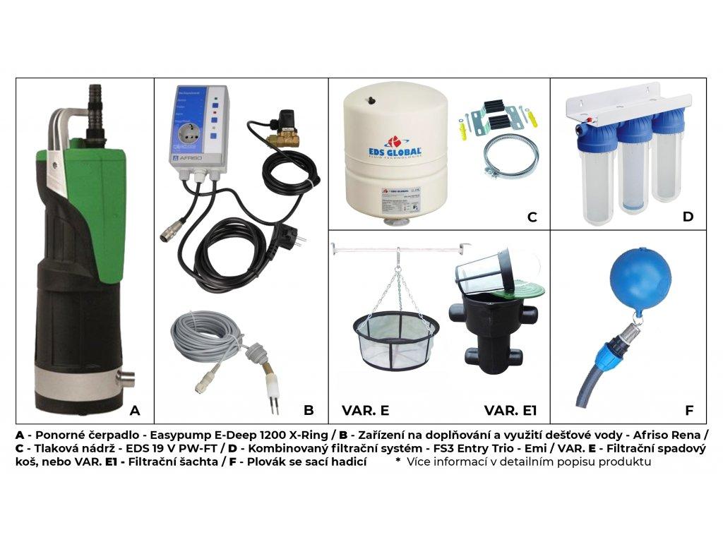 Sada plastové retenční akumulační nádrže na dešťovou vodu 3 700 L