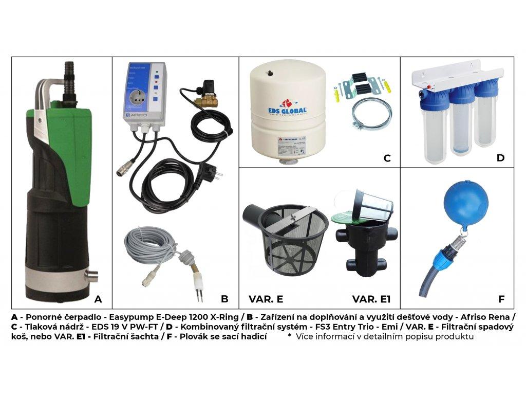 Sada plastové retenční akumulační nádrže na dešťovou vodu Ecoline 5000 L