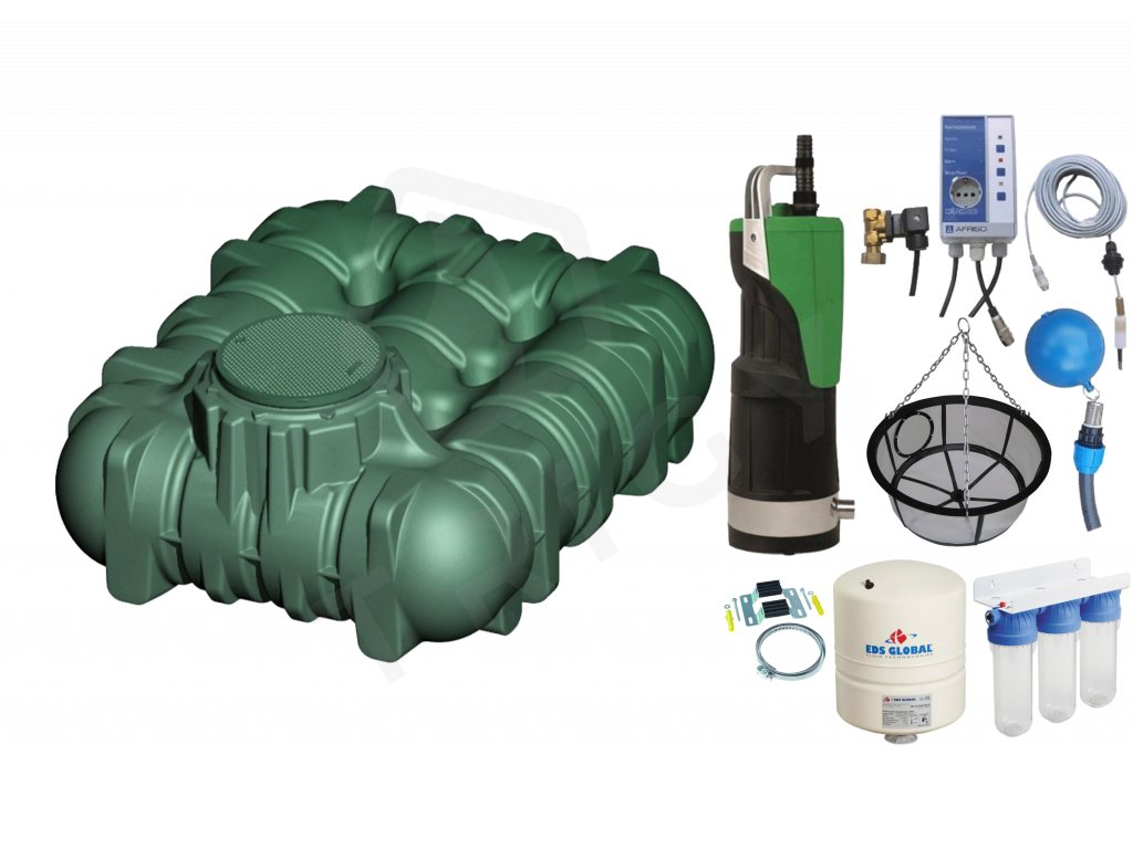 Sada plastové retenční akumulační nádrže na dešťovou vodu Li-Lo 3 000 L