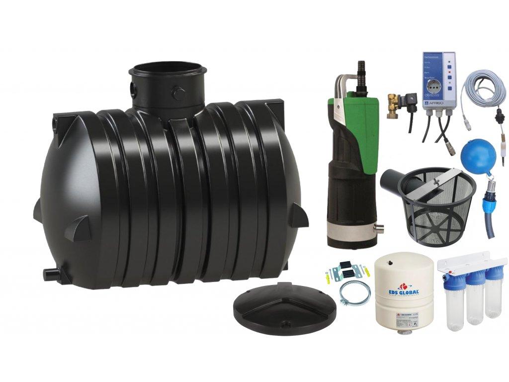 Sada plastové retenční akumulační nádrže na dešťovou vodu Ozeanis 4000 L