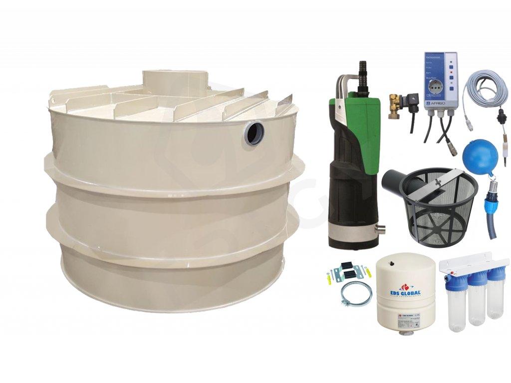 Sada plastové retenční akumulační nádrže na dešťovou vodu RNSK 4000 L