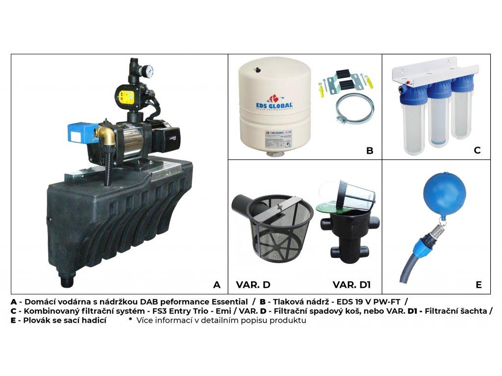 Sada plastové retenční akumulační nádrže na dešťovou vodu Aqua 2000 L s filtračním košem