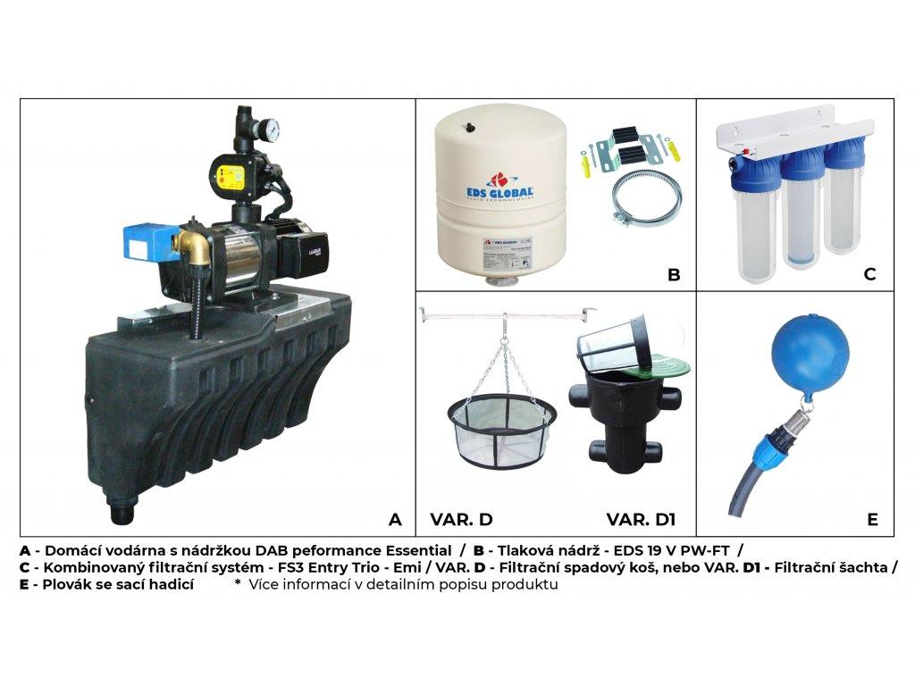 Sada plastové retenční akumulační nádrže na dešťovou vodu Cristall 2650 L