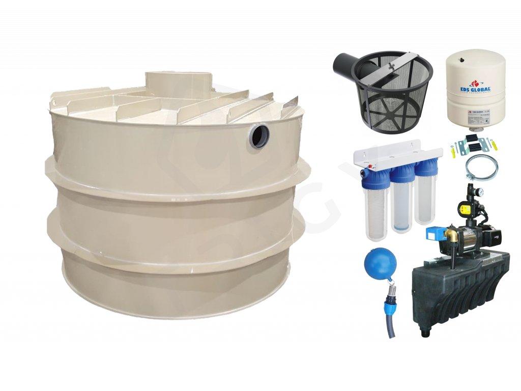 Sada plastové retenční akumulační nádrže na dešťovou vodu RNSK 2000 L