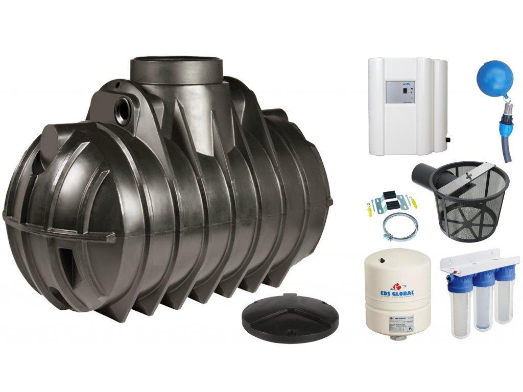 Sada plastové retenční akumulační nádrže na dešťovou vodu Atlantis 2200 L