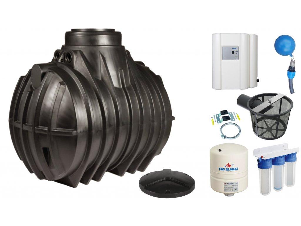 Sada plastové retenční akumulační nádrže na dešťovou vodu Atlantis 4000 L