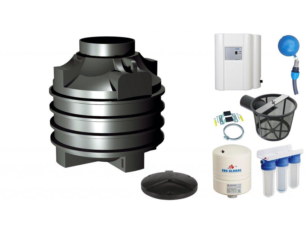 Sada plastové retenční akumulační nádrže na dešťovou vodu Clearo 1000 L