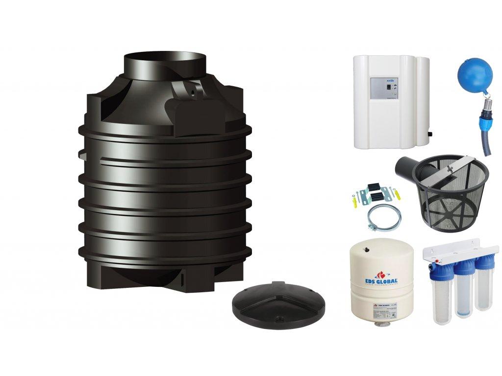 Sada plastové retenční akumulační nádrže na dešťovou vodu Clearo 1500 L