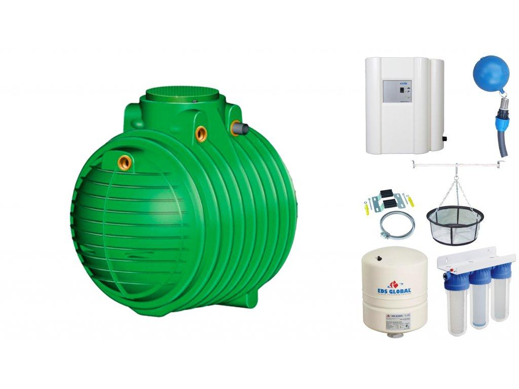 Sada plastové retenční akumulační nádrže na dešťovou vodu Columbus 4500 L