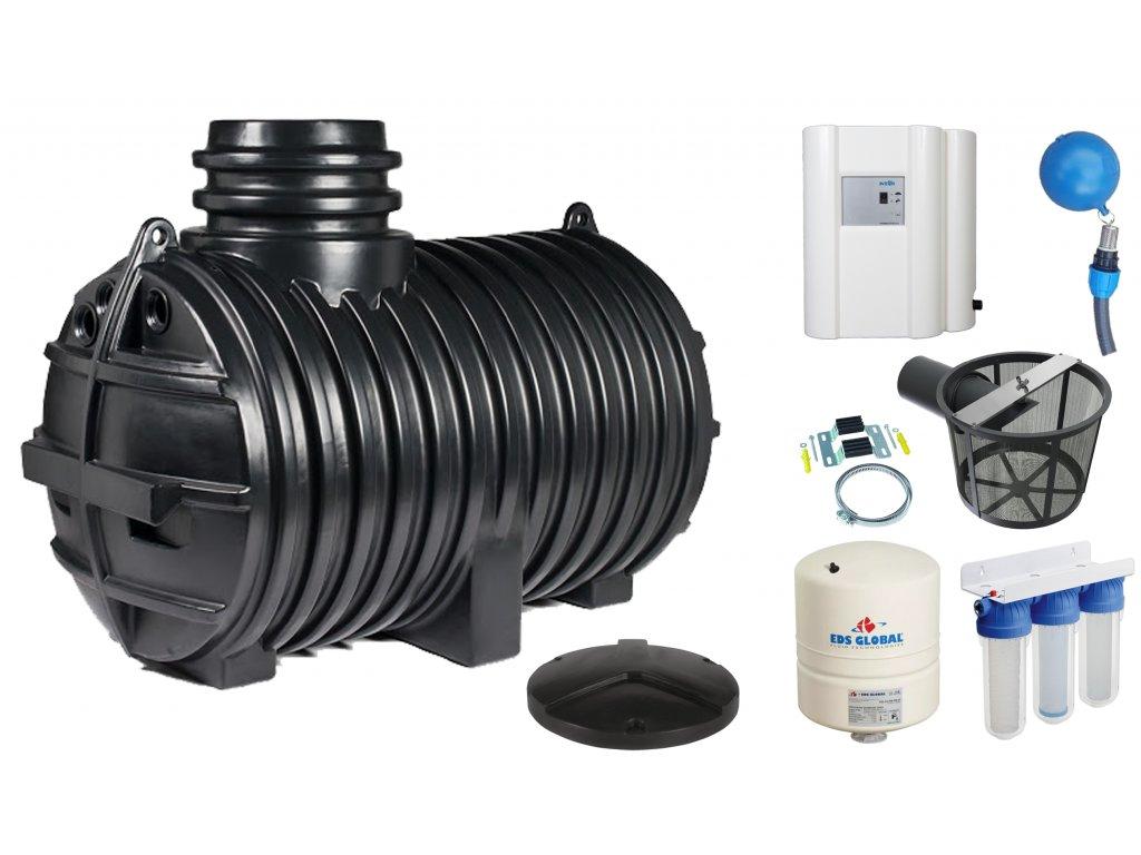 Sada plastové retenční akumulační nádrže na dešťovou vodu Eco line 3300 L
