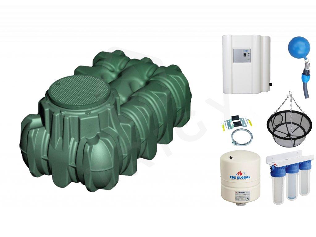 Sada plastové retenční akumulační nádrže na dešťovou vodu Li-Lo 1 500 L