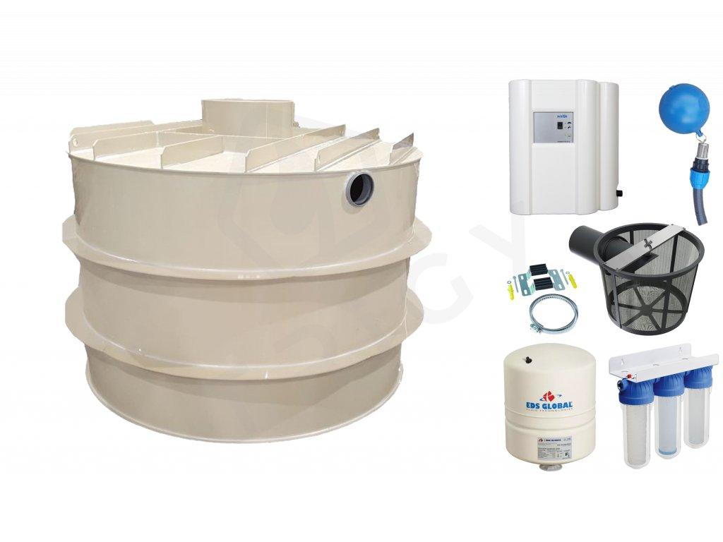 Sada plastové retenční akumulační nádrže na dešťovou vodu RNSK 1000 L