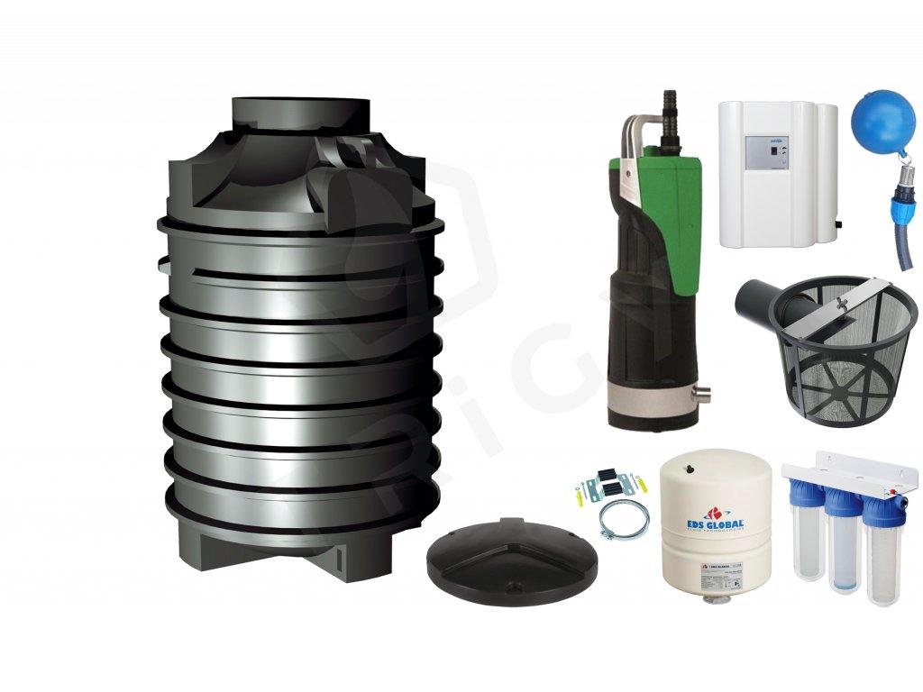 Sada plastové retenční akumulační nádrže na dešťovou vodu Clearo 2000 L